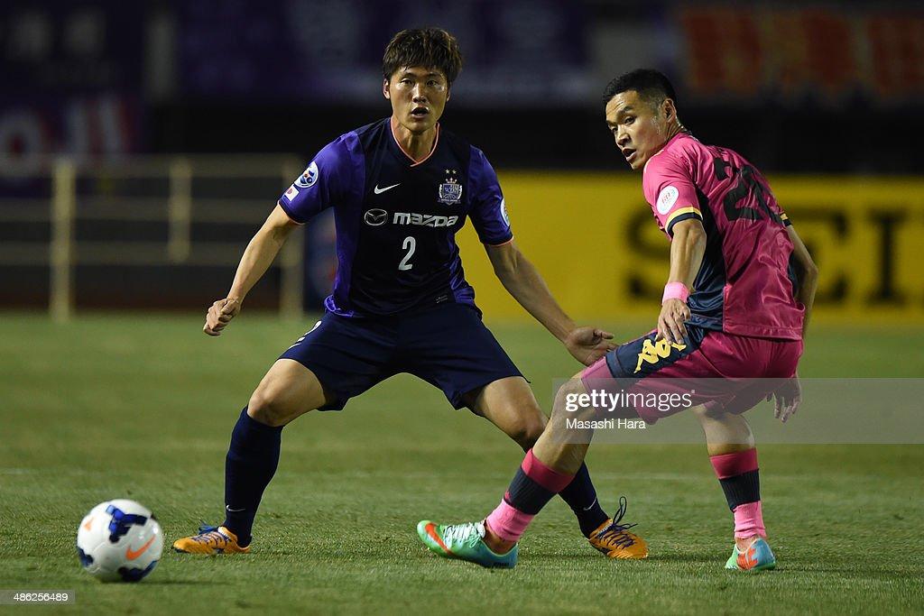 Hwang Seok Ho #2 of Sanfrecce Hiroshima in action during the AFC Champions League Group F match between Sanfrecce Hiroshima and Central Coast Mariners at Edion Stadiam Hiroshima on April 23, 2014 in Hiroshima, Japan.