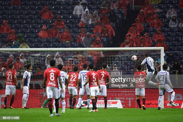 Hwang Ui Jo of Gamba Osaka heads to score his side's first goal during the JLeague J1 match between Urawa Red Diamonds and Gamba Osaka at Saitama...