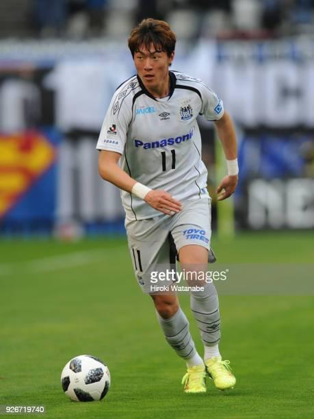 Hwang Ui Jo of Gamba Osaka lin action during the JLeague J1 match between Kashima Antlers and Gamba Osaka at Kashima Soccer Stadium on March 3 2018...