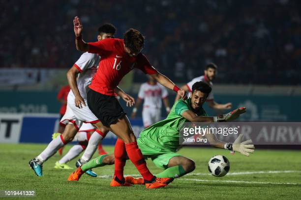 Hwang Ui Jo of South Korea scores a goal during the Men's Football Group E match between South Korea and Bahrain at Si Jalak Harupat Stadium ahead of...