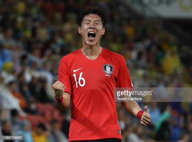 Hwang Uijo of Korea Republic celebrates after scoring a goal during the International Friendly match between the Australian Socceroos and Korea...