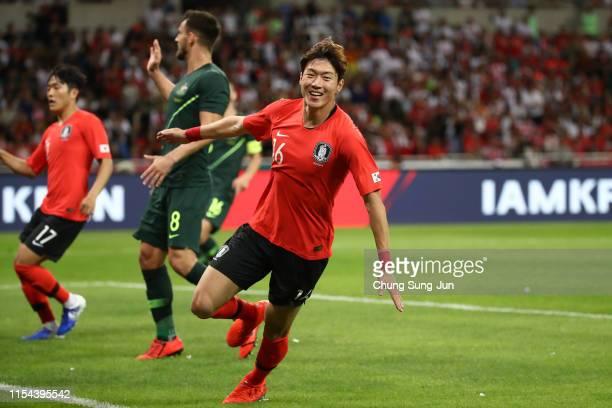 Hwang Uijo of South Korea celebrates scoring the opening goal during the international friendly match between South Korea and Australia at Busan...