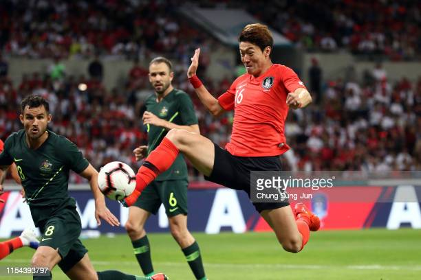 Hwang Uijo of South Korea scores the opening goal during the international friendly match between South Korea and Australia at Busan Asiad Main...