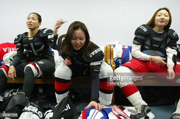 Hwangbo Young a North Korean defector who was a member of the North Korean National female ice hockey team prepares for practice with South Korean...