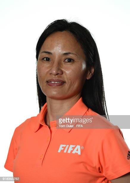 Hyang Ok Ri of North Korea poses for photographs during the FIFA Women's Referee Seminar on February 14 2018 in Doha Qatar