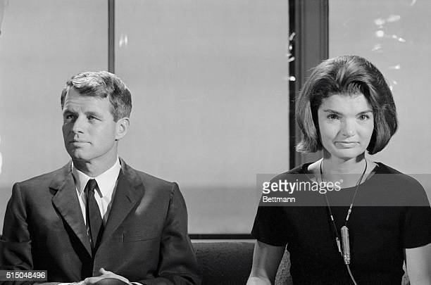 Mrs Jacqueline Kennedy appears excited as she establishes voice contact with British Prime Minister Harold MacMillan during rehearsal of special CBS...
