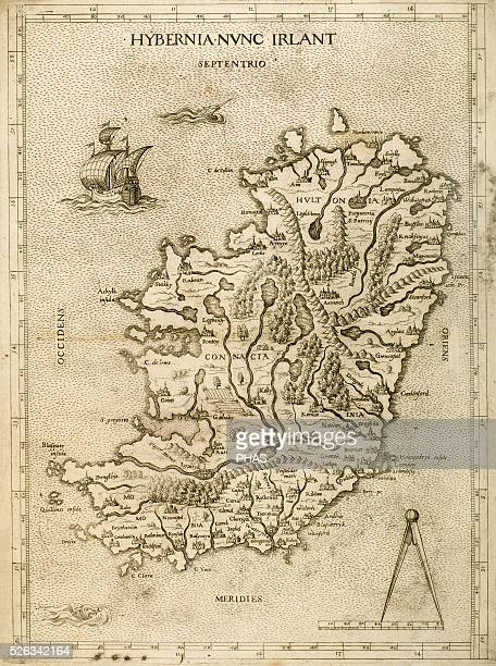 Hybernia Nunc Irlant Ireland Map was clearly made by a member of the Lafreri School of cartographers Antonio Lafreri Rome 1570 Renaissance Engraving...