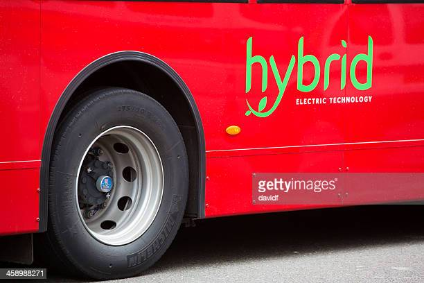 hybrid bus - hybrid vehicle stock photos and pictures