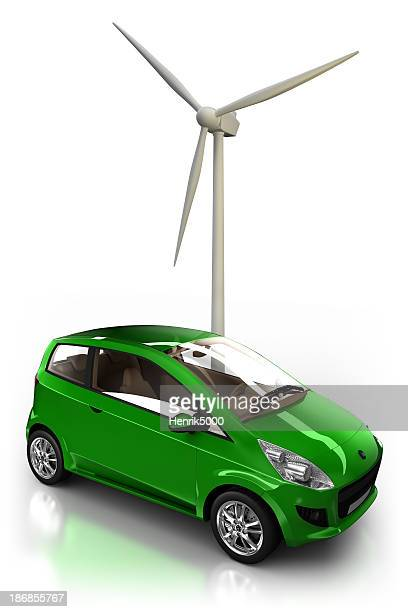 Hybrid Car and wind power - isolated / clipping path