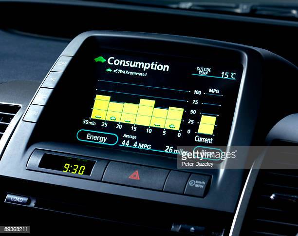 Hybrid car fuel consumption screen.