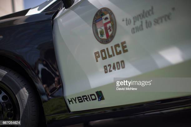Hybrid police car is seen at the unveiling of two new Ford Fusion hybrid pursuit-rated Police Responder cars at Los Angeles Police Department...