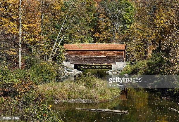 Hyde Hall covered bridge is the oldest existing covered bridge in the United States, Glimmerglass State Park.