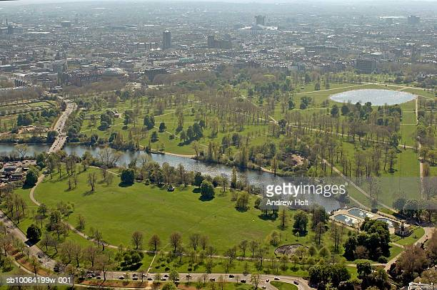 hyde park and kensington gardens, aerial view - hyde park london stock photos and pictures