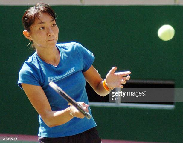 Tomoko Yonemura of Japan practices at the Sports Authority of Andhra Pradesh Tennis Complex in Hyderabad, 22 November 2006. The six Nation USD 70,000...