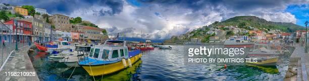 hydra island panorama 5 - dimitrios tilis stock pictures, royalty-free photos & images