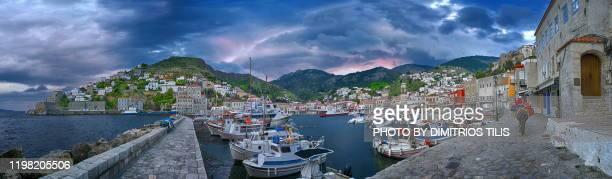 hydra island panorama - dimitrios tilis stock pictures, royalty-free photos & images