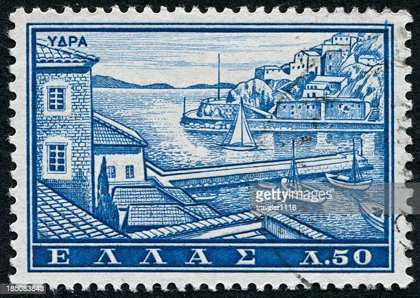 hydra island stamp - hydra greece stock photos and pictures