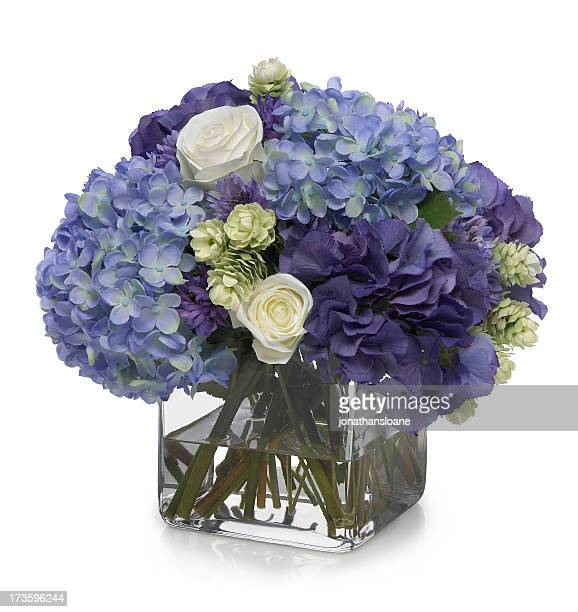 hydrangea and rose bouquet on white background - flower arrangement stock pictures, royalty-free photos & images