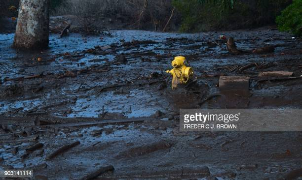 TOPSHOT A hydrant is almost covered in mud which came down hillsides from overnight rain in Montecito California on January 9 2018 Mudslides...