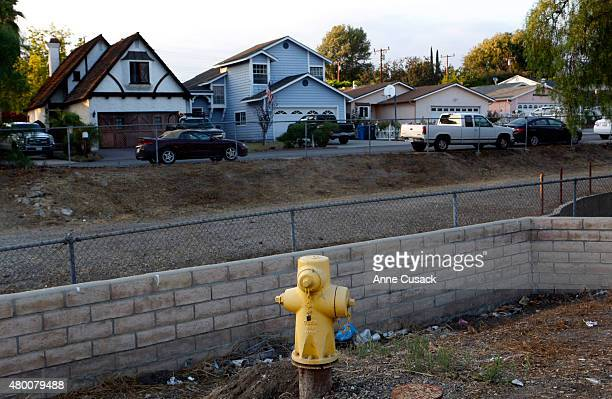 A hydrant is seen across the street from homes on July 8 2015 in Thousand Oaks California A complaint has been filed against actor Tom Selleck after...