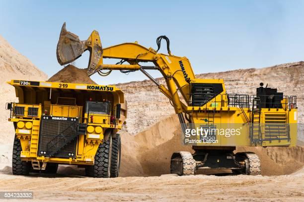 Hydraulic Shovel Filling Dump Truck in Open Phosphate Mine
