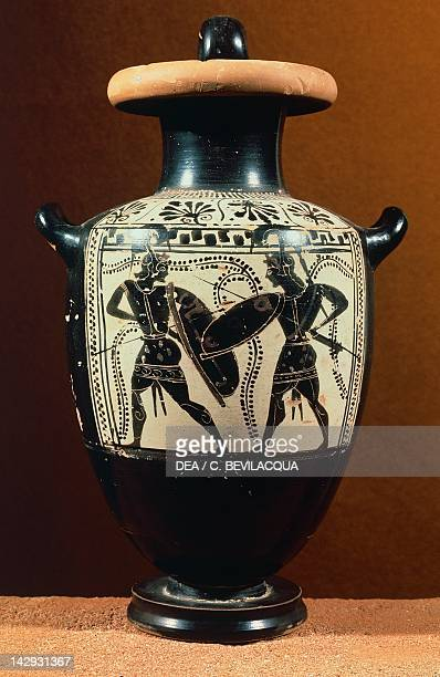 Hydria attic blackfigure pottery Italy Ancient Greek civilization Magna Graecia Ferrara Museo Archeologico Nazionale