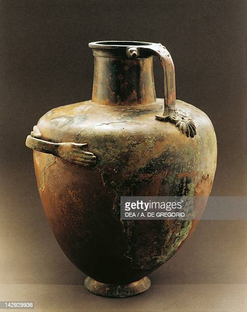 Hydria with hand-shaped horizontal handle, bronze from the Hypogeum in Paestum, Campania, Italy. Ancient Greek civilization, Magna Graecia, 5th...