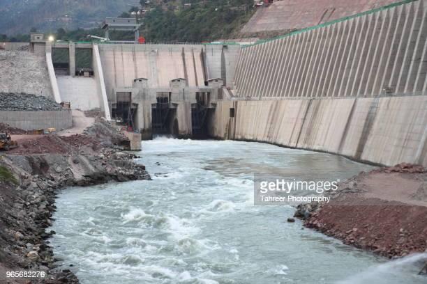 hydro power project at river - pianta acquatica foto e immagini stock