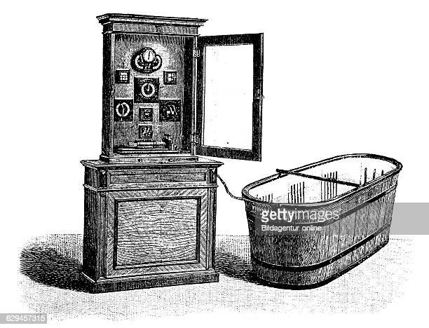 Hydroelectric bathroom cabinet with battery and power regulation equipment historical engraving circa 1885