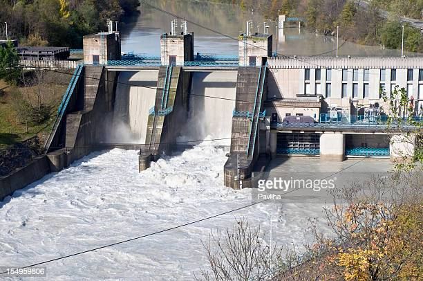 hydroelectric power plant at isonzo river, slovenia - hydroelectric power station stock photos and pictures