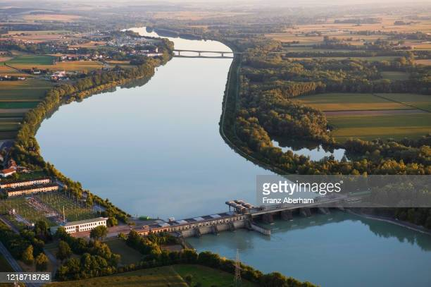 hydroelectric power station inn river, austria - upper austria stock pictures, royalty-free photos & images