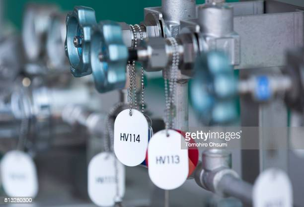 A hydrogen compressor is seen during a media tour of a lowcarbon hydrogen supply chain demonstration project on July 12 2017 in Yokohama Kanagawa...