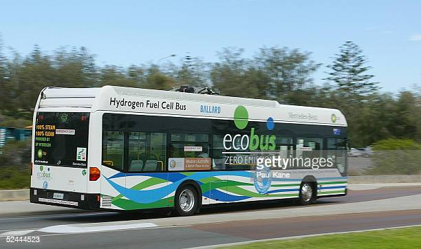 Hydrogen Fuel Cell Bus is seen in operation at Cottesloe on March 17 2005 in Perth Australia Perth will participate in one of the first major trials...