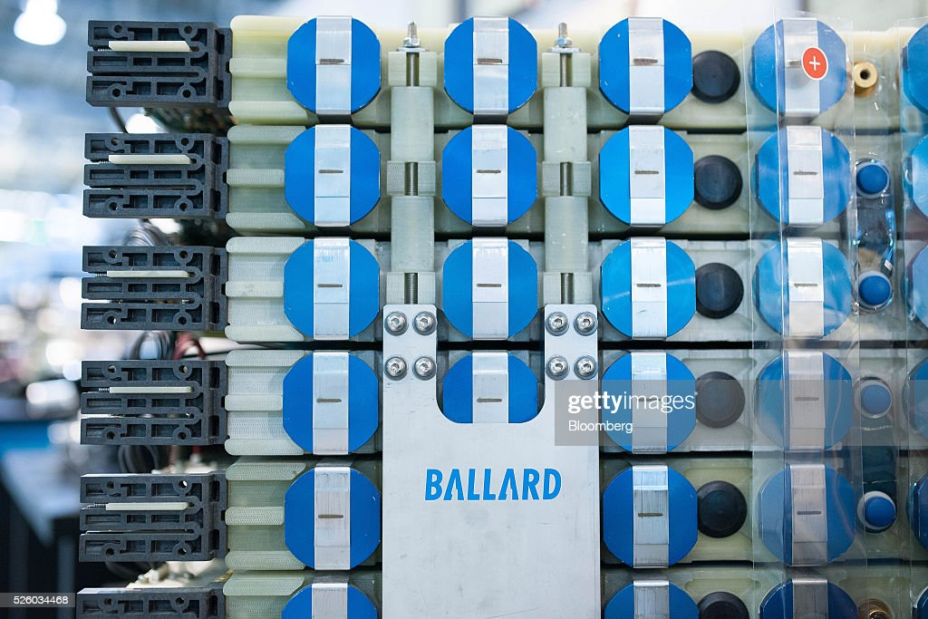 Hydrogen fuel cells stand at the Ballard Power Systems Inc