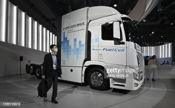 Hydrogen fuel-cell powered tractor is displayed at the Hyundai booth during a 'Hydrogen Mobility Energy Show' at the Kintex exhibition centre in...