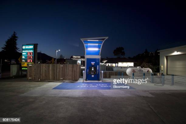 A hydrogen fueling pump stands at a TrueZero station stands at dusk in Mill Valley California US on Friday Feb 23 2018 California is spending more...