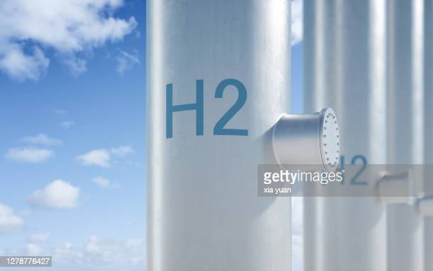 hydrogen pipeline with blue sky background - fuel cell stock pictures, royalty-free photos & images