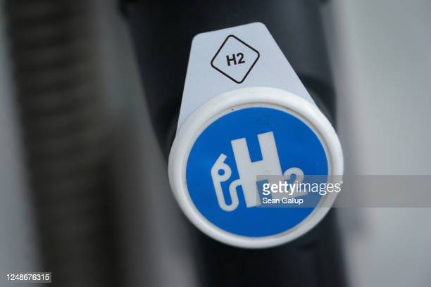 Hydrogen pumping station for hydrogen-powered cars stands on June 10, 2020 in Berlin, Germany. The German government is to announce a new national...