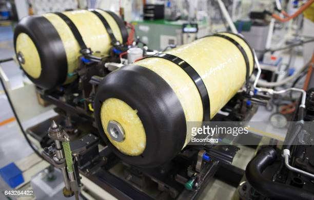 Hydrogen tanks sit before being installed in a Toyota Motor Corp Mirai fuelcell vehicle on the production line of the company's Motomachi plant in...