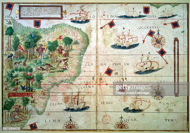 """Hydrographic Map of Brazil. From the illuminated manuscript Portuguese nautical Atlas by Loppo Homem , 1519. Bibliotheque Nationale de France, Paris """""""