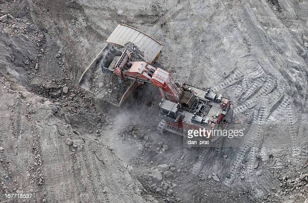 hydrolic mining excavator, aerial photo - oil sands stock pictures, royalty-free photos & images
