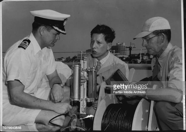 Show equipment they will use to test the salinity light penetration of waters in the Tasman Sea They leave tomorrow in HMAS Quickmatch 2 other...