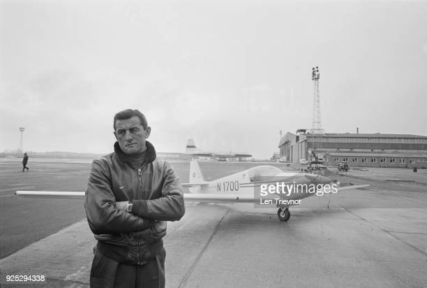 Hydroplane racer and former pilot Mira Slovak with his single-seater motor glider Fournier RF-4, UK, 9th May 1968.