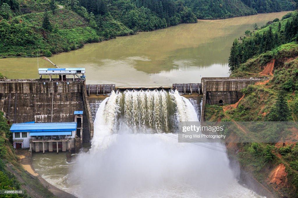 Hydropower Station, Pingzheng River, Guizhou China : Stock Photo