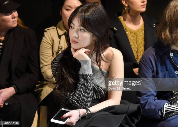 Hye Kyo Song wearing Burberry attends the Burberry February 2017 Show during London Fashion Week February 2017 at Makers House on February 20 2017 in...