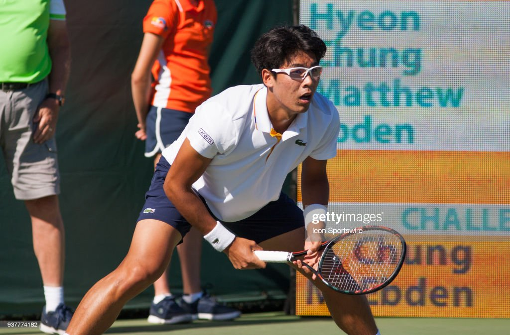 Hyeon Chung (KOR) in action on Day 5 of the Miami Open at Crandon Park Tennis Center on March 23, 2018, in Key Biscayne, FL.