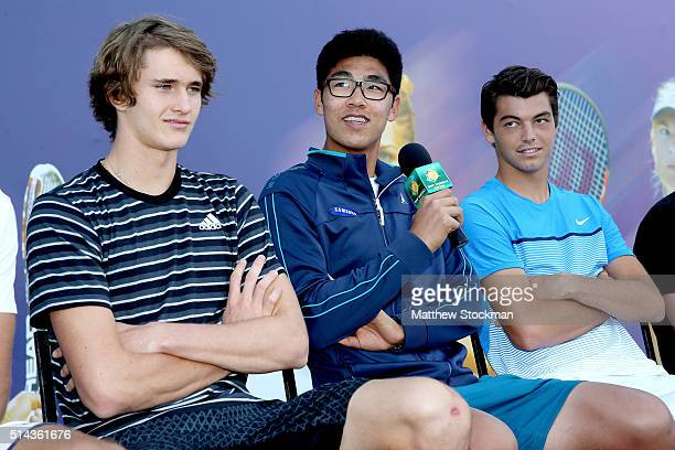 Hyeon Chung of Korea addresses the audiance while participating in the ATP #NextGen player panel with Alexander Zverev of Germany and Taylor Fritz...