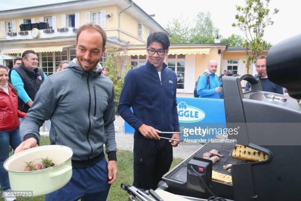 Hyeon Chung of Korea attends with Tim Puetz of Germany the Meggle barbecue during day 4 of the BMW Open by FWU at MTTC IPHITOS on May 1 2018 in...