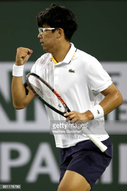 Hyeon Chung of Korea celebrates a point against Tomas Berdych of Czech Republic during the BNP Paribas Open at the Indian Wells Tennis Garden on...