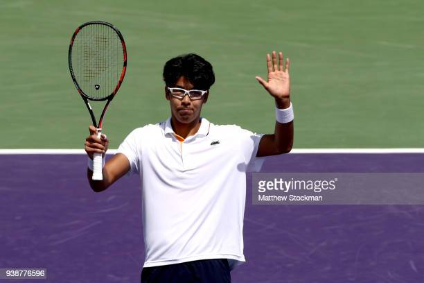 Hyeon Chung of Korea celebrates his win over Joao Sousa of Portugal during the Miami Open Presented by Itau at Crandon Park Tennis Center on March 27...